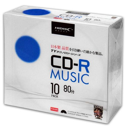 【TYテクノロジーシリーズ】HIDISC CD-R 音楽用 40倍速 80分 ホワイトワイドプリンタブル 5mmスリムケース 10枚