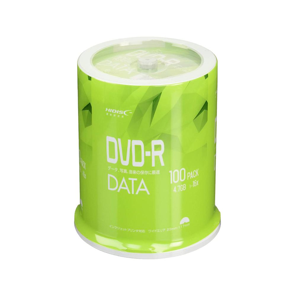 DVD-R データ用 4.7GB 1-16倍速 100枚 スピンドルケース ホワイトワイドプリンタブル インクジェットプリンタ対応