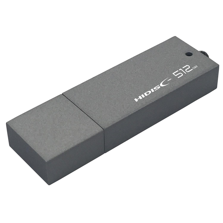 高速転送 HIDISC USB 3.0 フラッシュドライブ 512GB シルバー キャップ式