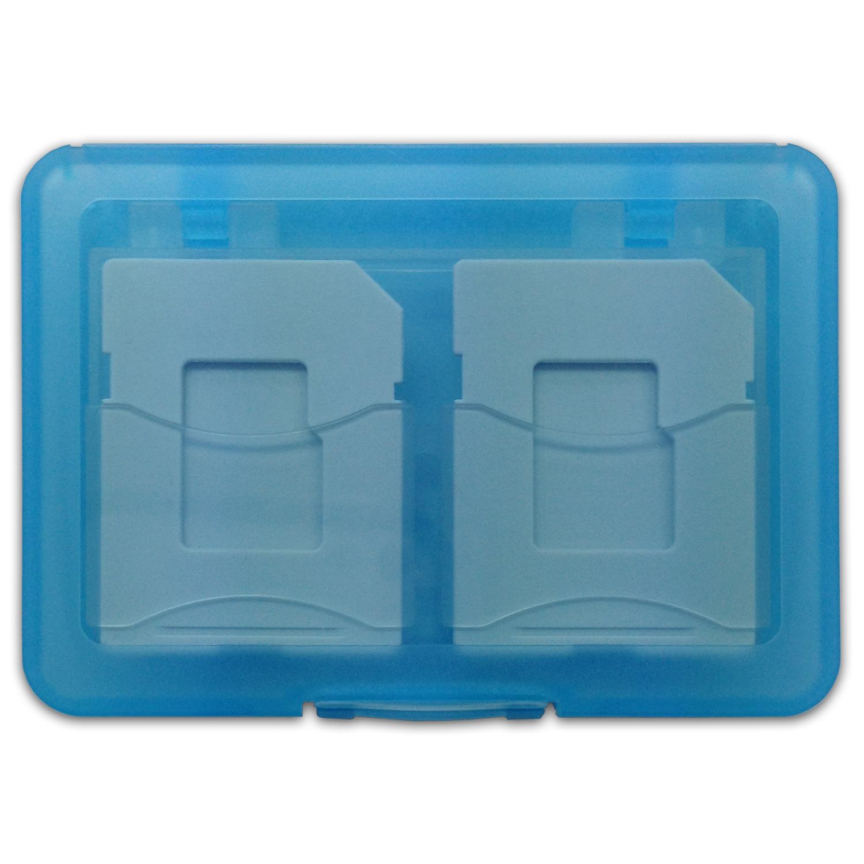 SD/microSD メモリーカード収納ケース 4枚収納用 ブルー