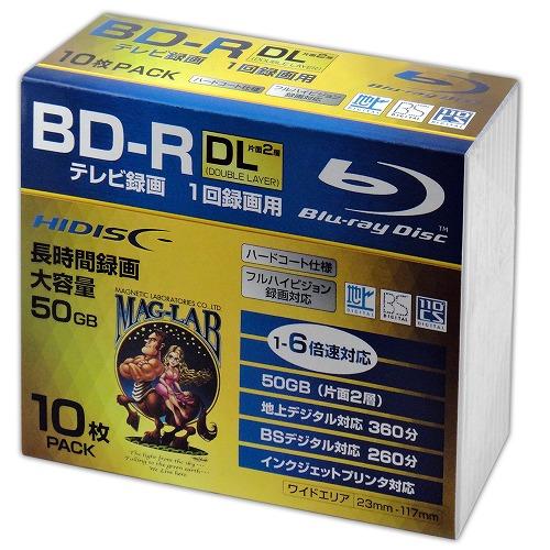 HIDISC BD-R DL 1-6倍速対応 50GB 一回録画用デジタル放送対応 インクジェットプリンタ対応10枚 スリムケース