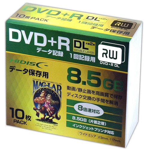 HIDISC DVD+R DL 8倍速対応 8.5GB 1回 データ記録用 インクジェットプリンタ対応10枚 スリムケース入り HDD+R85HP10SC