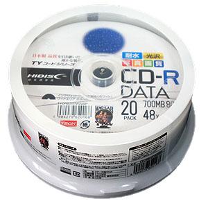 <TY技術を引き継いだ国産同等品質>【TYコードシリーズ】HIDISC CD-R データ用 48倍速 700MB 写真画質 光沢 ホワイトワイドプリンタブル ウォーターシールド スピンドルケース 20枚