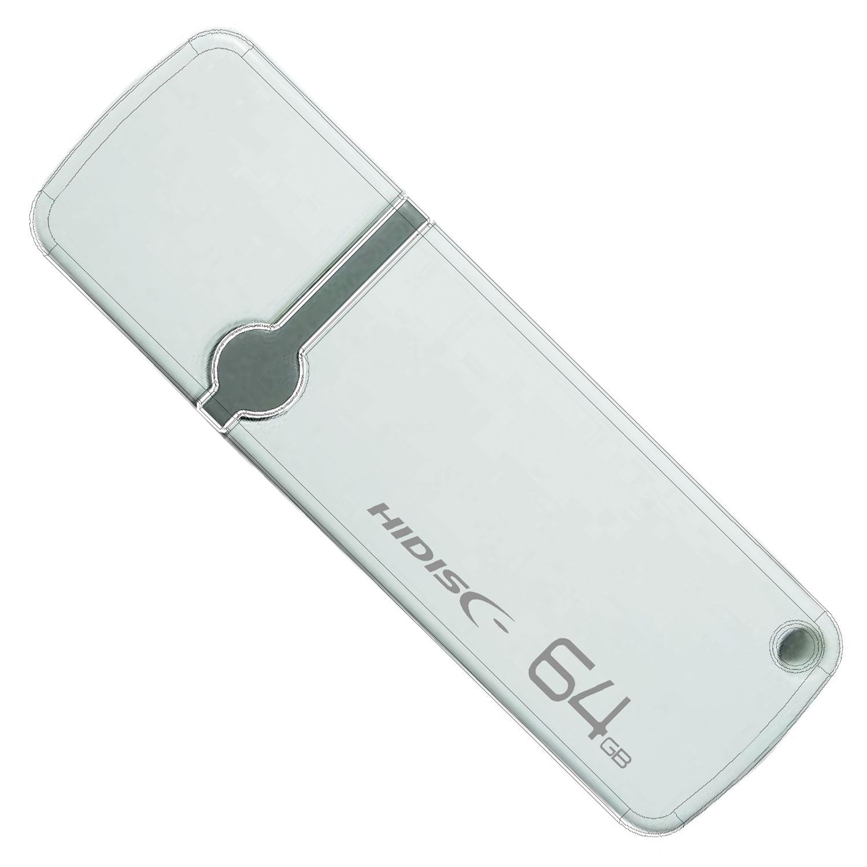 HIDISC USB 2.0 フラッシュドライブ 64GB 白 キャップ式 HDUF122C64G2