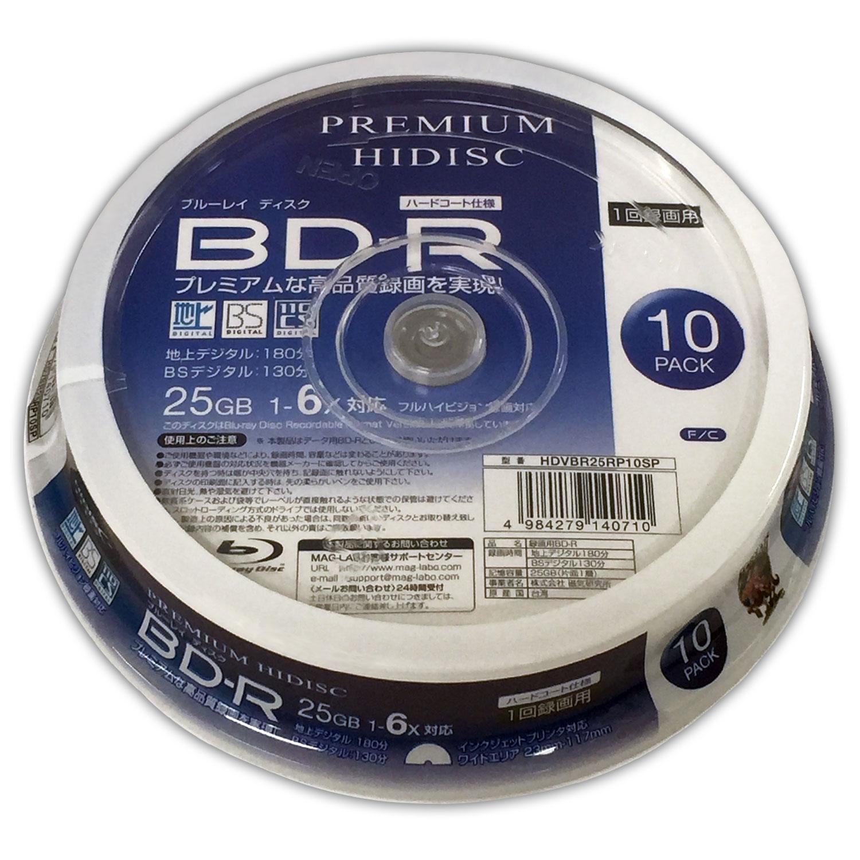 PREMIUM HIDISC BD-R 1回録画 6倍速 25GB 10枚 スピンドルケース