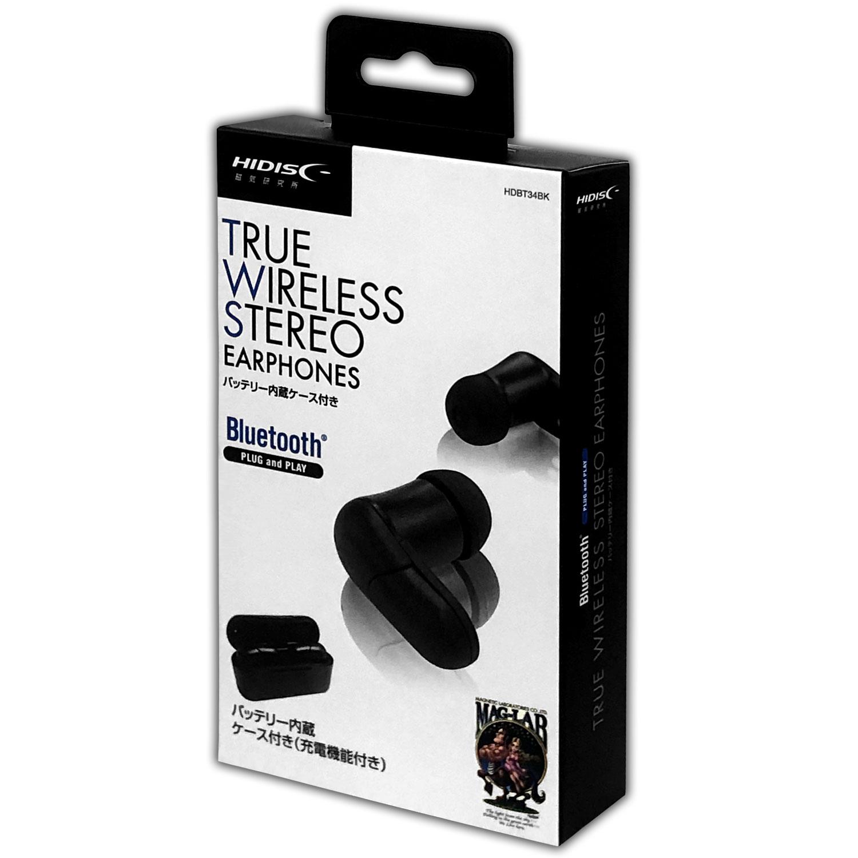 HIDISC バッテリー内蔵ケース付き TRUE WIRELESS STREO Bluetoothイヤフォン HDBT34BK