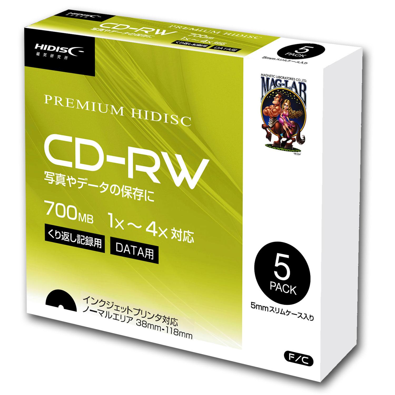 HIDISC データ用 CD-RW 1-4倍速5mmスリムケース入り5枚パック
