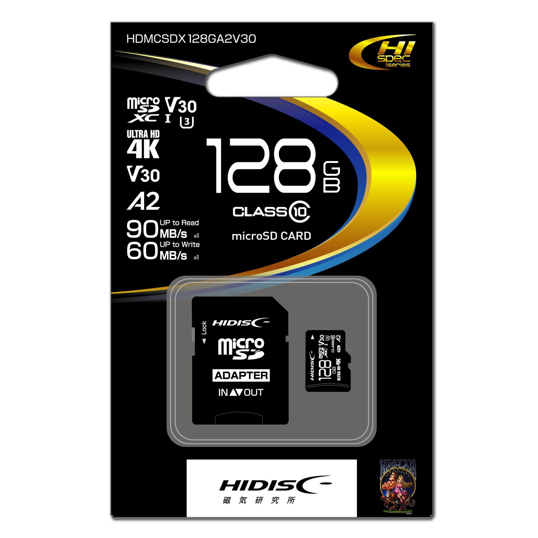 HIDISC 超高速microSDXCカード 128GB CLASS10 UHS-I Speed class3, A2対応