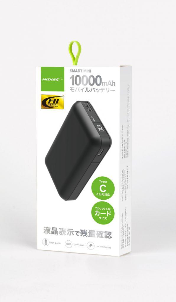 HIDISC  液晶表示で残量がわかるモバイルバッテリー カードサイズ, USB-Type C入出力可能 ブラック HD-MBLCD10000BTBK