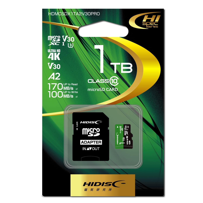 HIDISC 超高速 R170シリーズ microSDXCカード 1TB CLASS10 UHS-I Speed class3, A2対応