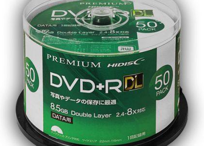 HIDISC データ用 DVD+R DL 片面2層 8.5GB 50枚 8倍速対応 インクジェットプリンタ対応